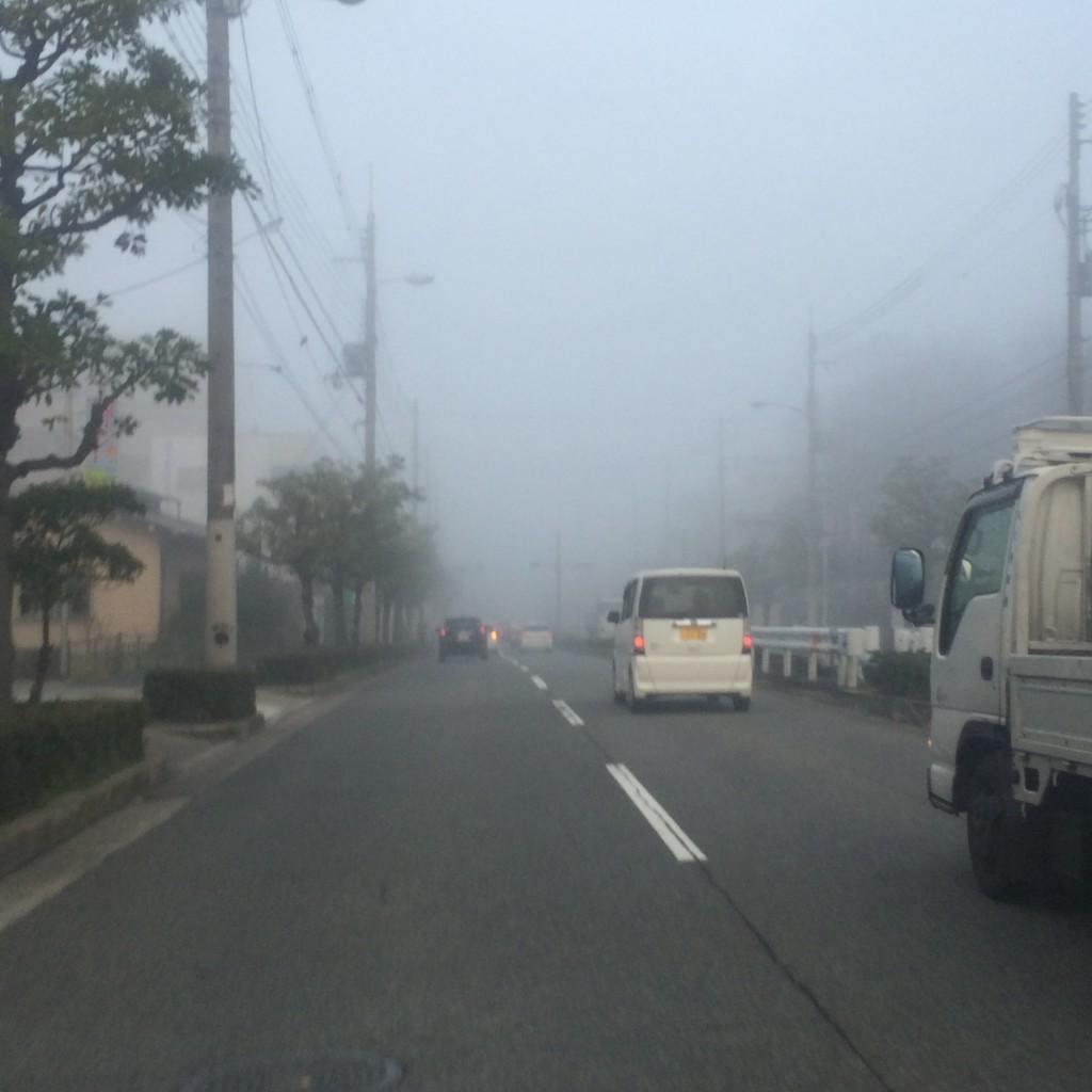 今朝の霧の大阪市内